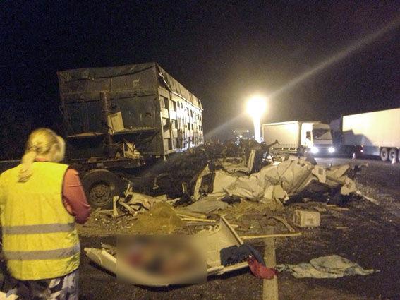 Сразу три грузового автомобиля столкнулись наПолтавщине: большое количество погибших