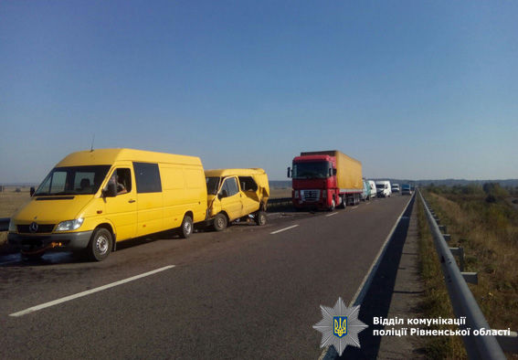 ВРовенской области 7 машин сложились вгармошку из-за тумана