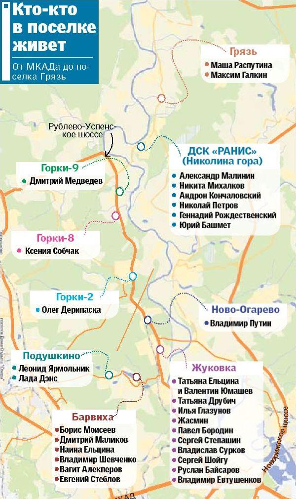 Карта коттеджных поселков Подмосковья